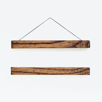 Wooden poster hanger TONEmini- well worn, aged and distressed looking wooden hanger