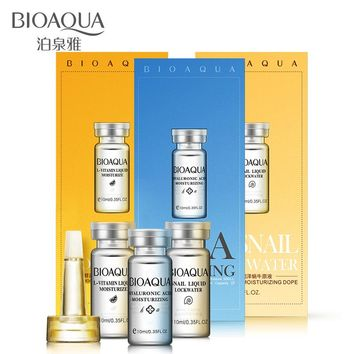 BIOAQUA Brand 3PCS Hyaluronic Acid Serum Snail L-vitamin Essence Whitening Moisturizing Lift Firming Anti Aging Facial Skin Care