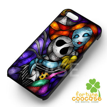 Jack Skellington Sally Stained Glass  for  iPhone 6S case, iPhone 5s case, iPhone 6 case, iPhone 4S, Samsung S6 Edge