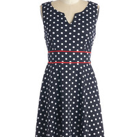 ModCloth Americana Mid-length Sleeveless A-line In Spot Pursuit Dress
