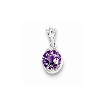 Sterling Silver with Amethyst and White Topaz Round Pendant