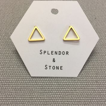 Small Gold Triangle Studs
