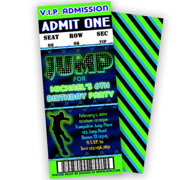 Boys Jump Birthday Invitation - JUMP Party Invitations - Neon Ticket Invites - ViP Pass - Boy Trampoline - Bouncy - Trampoline Party - Green