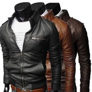 Men Faux Leather Jacket Slim Fit Zip Biker Motorcycle Warm Coat Overcoat Outwear