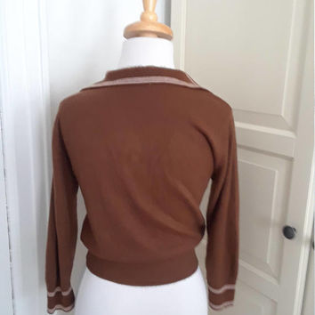 1950s Cocoa Brown Pullover Sweater, 3/4 Sleeves, Piping, Bombshell, Sweater Girl, Size M, 39B