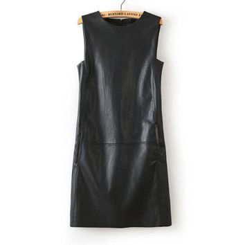 3XL 4XL 5XL 6XL Plus Size Dress2017 Autumn European Winter Women Faux PU Leather Straight Sleeveless Knee-Length  Dress