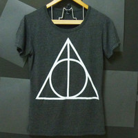 Triangle Deathly Hallows Harry Potter TSHIRT BLACK movie women teen size S,M,L plus size Crewneck tees ladies blouse by Cute classic shop