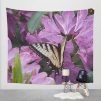 Monarch on Rhododendron Wall Tapestry by Scott Hervieux