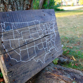 America Wooden Map, Hand Painted America Map, Reclaimed Wooden Sign, America Sign, USA Sign