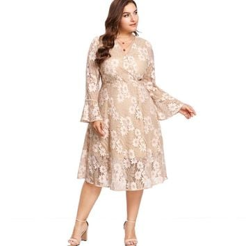 Women's Plus Size A-Line Surplice Wrap Floral Lace Dress With Flounce Sleeve.   In Sizes Large to 3XL.   Apricot Color.   ***FREE SHIPPING***