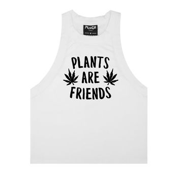 plants are friends TANK TOP crop t shirt bra bustier vest womens girls fun tumblr hipster 90s festival cute feminist slogan cannabis weed