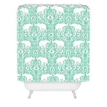 Jacqueline Maldonado Elephant Damask Hemlock Shower Curtain