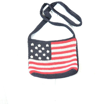 90s crochet american flag americana western red white blue shoulder hand bag purse