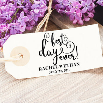 Best Day Ever Stamp | Wedding Cookie Favor Bag |  Best Day Ever Favor Tag  | Romantic Wedding Candy Bags | Bridal Shower Treat Bag