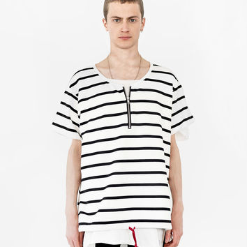 Neutral Stripe Half Sleeve Pullover Shirt in Black/Off-White