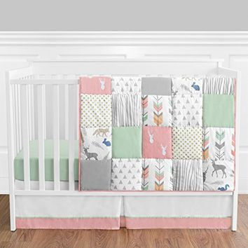 Coral Mint And Grey Woodsy Deer Girls Baby Bedding 4 Piece Crib Set Without Bumper