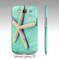 samsung galaxy S3, iphone4, 4s, 5 case, starfish photograph, turquoise