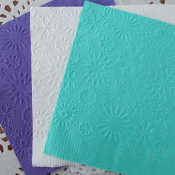 25 Snowflake Embossed Paper Napkins - Winter Party - Cocktail Napkins - Turquoise Blue - White - Purple - Snowflakes -