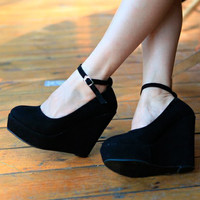 Womens Solid European High  Heels Wedges Platforms  Ankle Strap Pumps Shoes 1lE