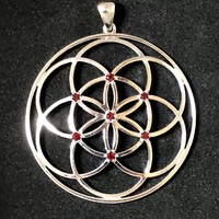 Sacred Geometry, Seed of Life Pendant with Garnets made in 925 Sterling Silver  - Extra Large