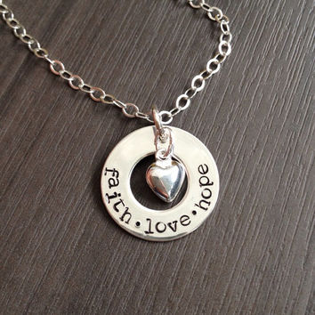 Engraved Personalized Sterling Silver Pendant - Custom Name Word Date Charm Necklace - Hand Stamped - Washer Circle & Heart by RedHorses