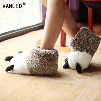 VANLED New Arrival Autumn Winter Warm Home Paw Plush Slippers Thermal Soft Cotton Animal Bear Claw Slippers Indoor\Floor Shoes