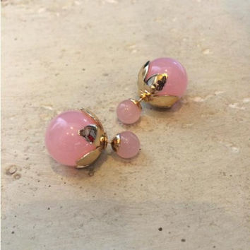 Pink and Gold Double Sided Stud Earrings