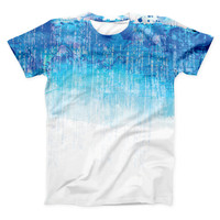 The Faded Blue Watercolor Strokes ink-Fuzed Unisex All Over Full-Printed Fitted Tee Shirt