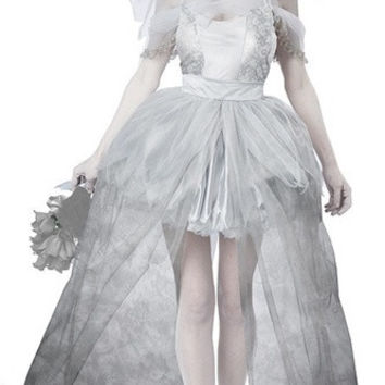 Deluxe Zombie Corpse Bride Womens Halloween Costume 4PCS Fancy Party Dress Carnival (Size: M, Color: White)