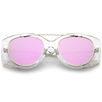 Futuristic Translucent Mirrored Flat Lens Aviator Sunglasses C329