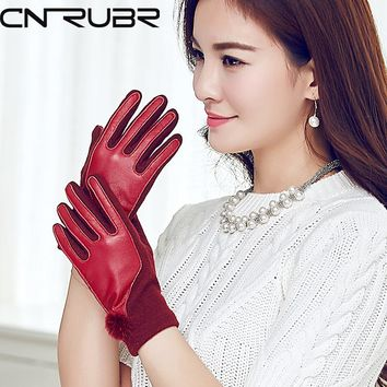 CNRUBR Winter Leather Wool Women Gloves Warm Solid  Mittens Fashion Mink Ball Warm Gloves  4 Colors Women Gloves