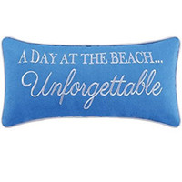 Blue Accent Pillow, A Day At the Beach... Unforgettable, 8 Inches X 20 Inches