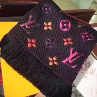 LV popular casual men's and women's scarves fashion color jacquard tassel shawl scarf