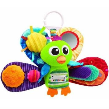 candice guo! cute multipurpose baby plush toy play grow peacock & BB instrument bed hang baby toy gift 1pc