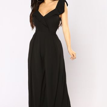 Euphoric Ruffle Off Shoulder Jumpsuit - Black