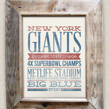 NEW YORK GIANTS - 8x10- Rustic - Vintage Style - Typographic Art Print - Subway Style - Football