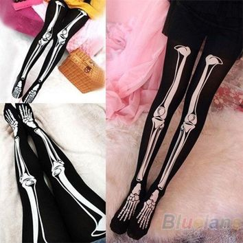CREYUG3 Womens Sexy Black Skeleton Tattoo Socks Pantyhose Stockings Tights Leggings Hot = 1932346308