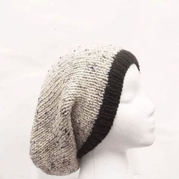 Slouch hat hand knitted oversized beanie hat tan with flecks  large size  5102