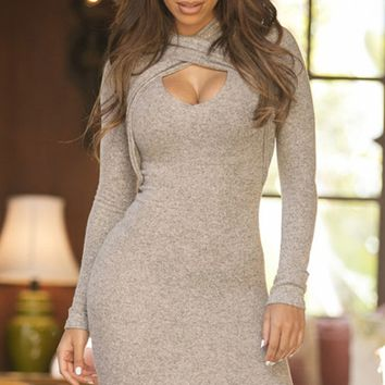 Cross Front High-Necked Long Sleeve Bodycon Dress