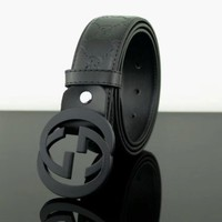 """""""Gucci"""" Unisex Fashion Simple All-match Double G Embossed Letter Metal Needle Buckle Cowhide Genuine Leather Belt Waistband"""