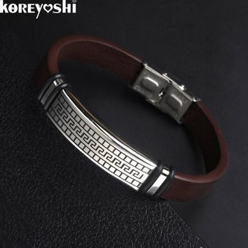 2016 fashion stainless steel Handmade Genuine Leather Bracelet Buckle Fashion Women &Men Bracelets Jewelry pulseira masculina
