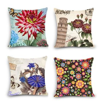 "Euro style floral home decor pillow flower Print Home Decorative Throw Pillow 18"" Vintage Cotton Linen Square Pillows MYJ-B8"