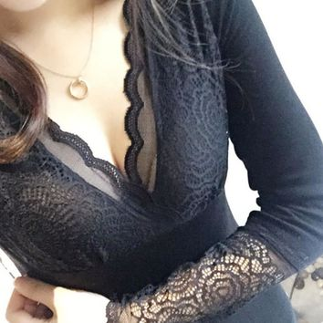 Body Shaper Waist Underwear V-neck Lace Long Sleeve Tops Slim Sexy Corset [10150077767]