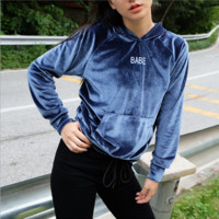 Women Simple Casual Letter Embroidery Hooded Long Sleeve Velvet Sweater Hoodie Tops