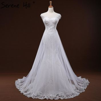 White Lace Train Tulle Sexy Wedding Dress Sequined Appliques Simple A-Line Bridal Gowns 2018 Robe De Mariage Serene Hill