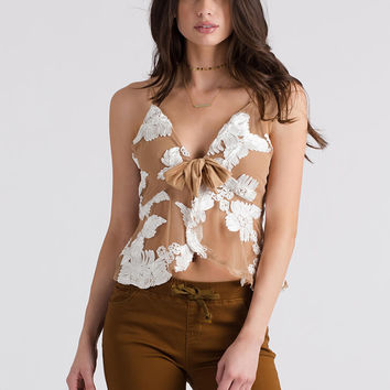 So Dreamy Tied Embroidered Top