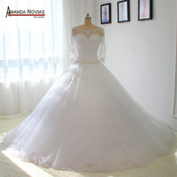 Three Quarter Sleeves Wedding Dress Real Photos Dropped Waist line Ball Gown Bridal Dresses