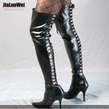 Jialuowei Extreme High Heels 12cm Stretch D-Ring Lace Up Fetish thigh high long boots Pointed Toe Unisex Dance party Boots
