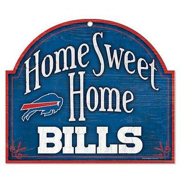 "BUFFALO BILLS HOME SWEET HOME ARCHED WOOD SIGN 10""x11"" BRAND NEW WINCRAFT"