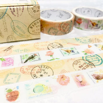 Post Stamp Washi tape 2 rolls Travel Stamps Postage Stamps Masking tape Watercolored flower bird stamp collection flower sticker tape gift